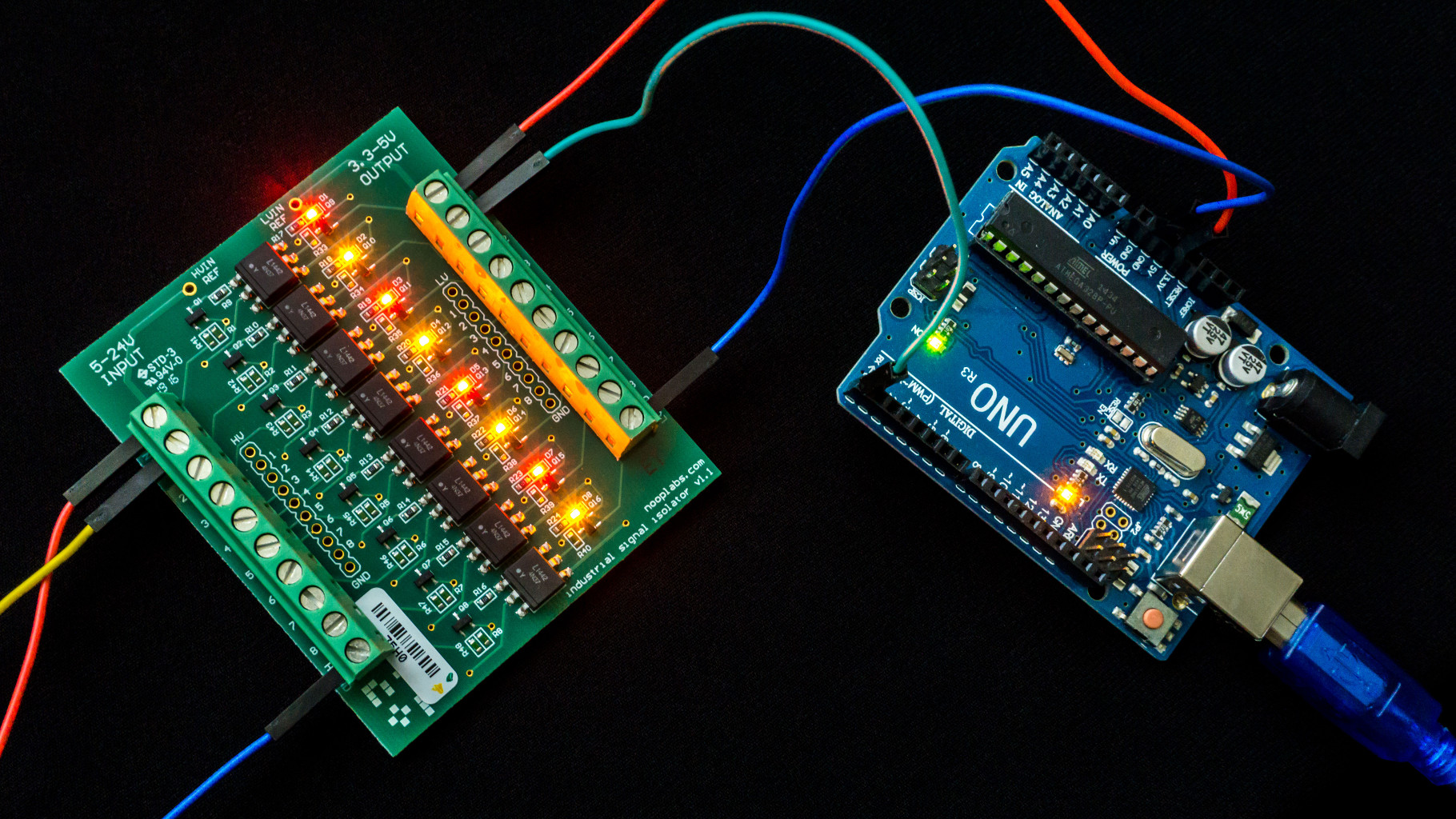 Arduino connected to the opto board